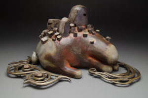 "Shoals (City Beast #3) wood fired ceramic and cast bronze 19"" wide x 9"" tall x 10"" wide $1600"